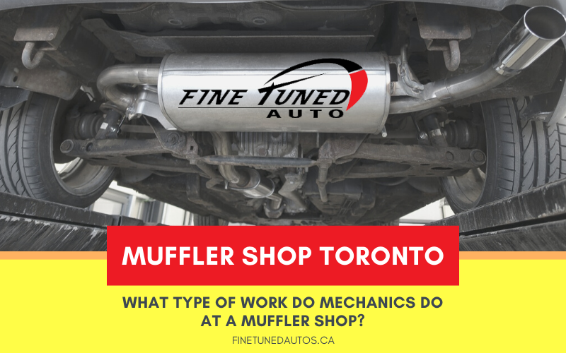 What type of work do mechanics do at a muffler shop?